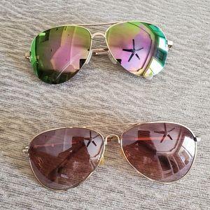 TWO aviator sunglasses
